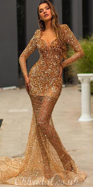 Sexy Mermaid Beaded Long Sleeves Luxury Long Prom Dress, FC4109 #fancydress