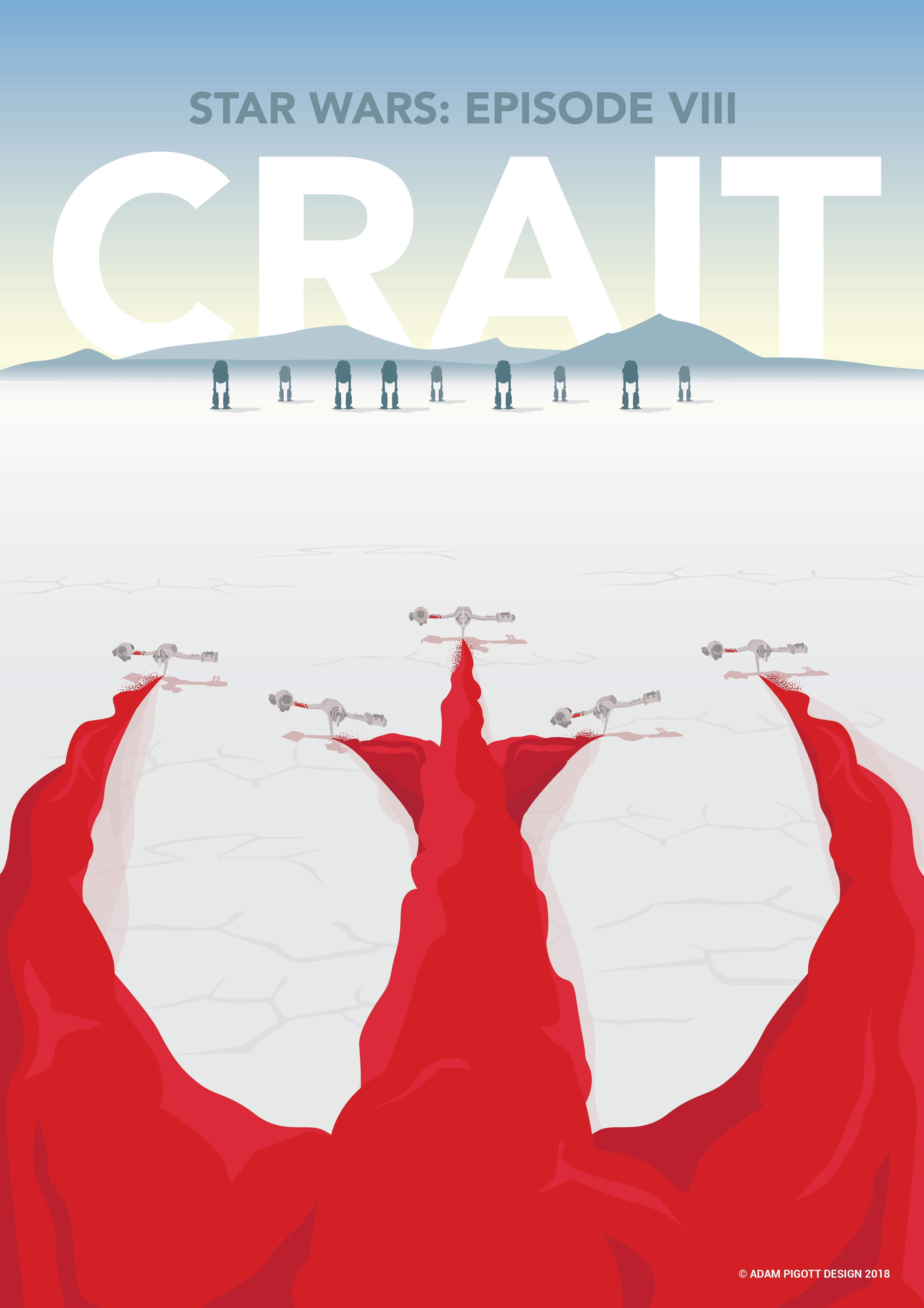 Movie Poster Inspired By Star Wars Episode Viii The Last Jedi Featuring Ski Speeders On The Planet Crait Star Wars Episodes Star Wars Art Star Wars