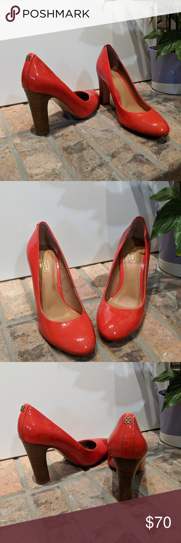 2d3131286bc Coach coral pumps Never worn Coach coral patent leather pumps with 4 ...