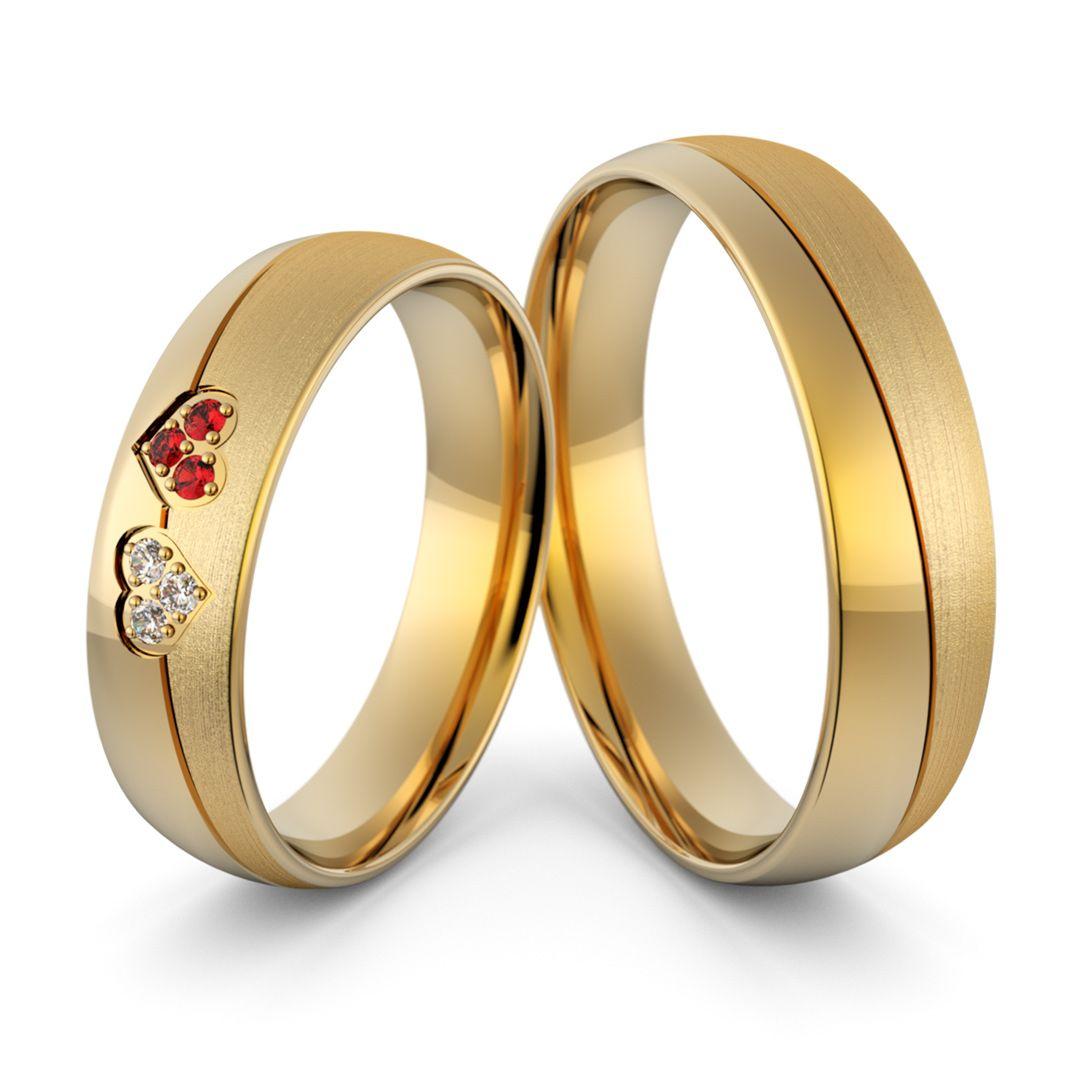 Obrączki ślubne z sercami cyrkoniami i rubinami - Au-1051   Projekty ... 2a19b2a599f