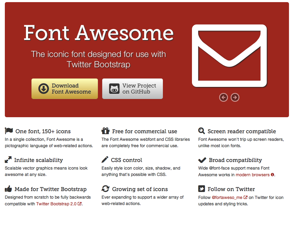 FontAwesome The iconic font designed for use with