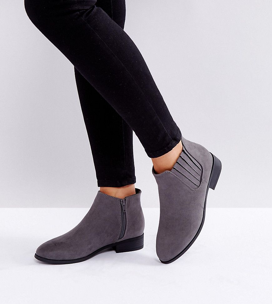125dcc453a0 New Look Wide Fit Suedette Flat Ankle Boot - Gray