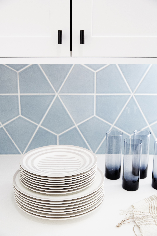 Hexite Tiles In Crater Lake Geometric Tile Floor Geometric Tiles Fireclay Tile