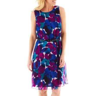 Liz Claiborne® Sleeveless Belted Print Fit-and-Flare Dress   found at @JCPenney
