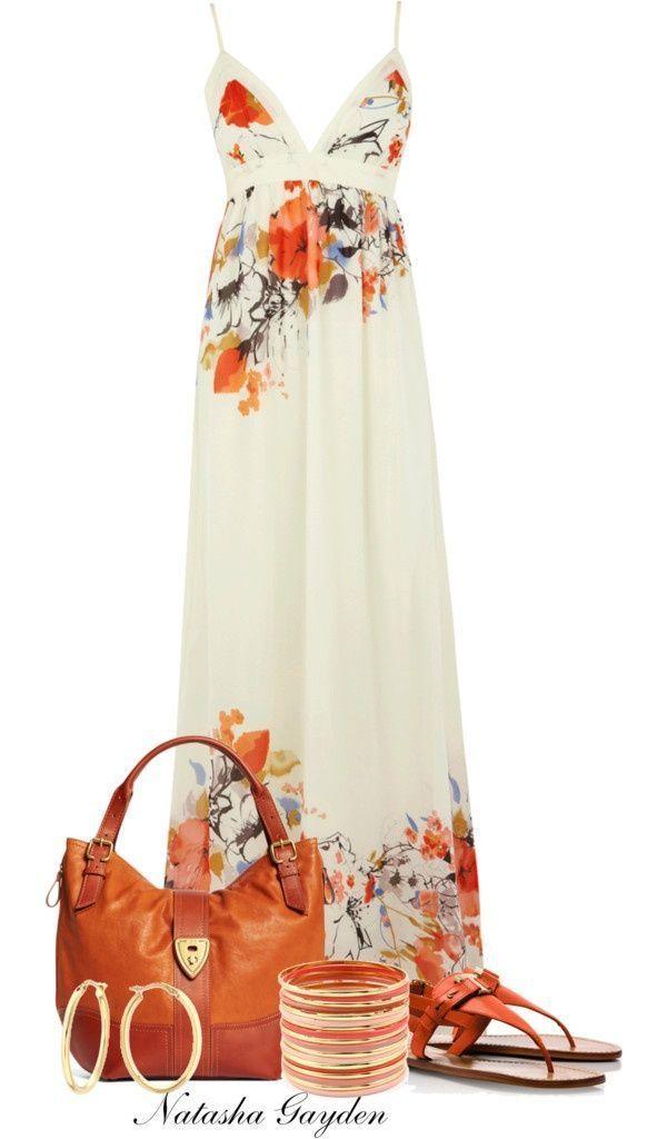 Fashion Dresses Accessories: Pretty Summer Maxi Dress With Cute Accessories For Fashion