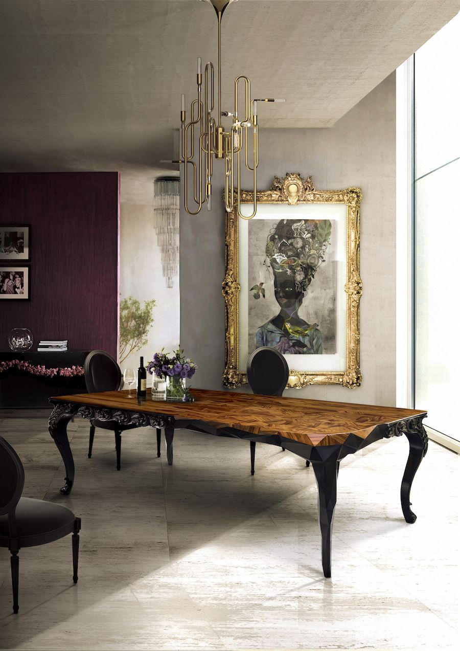 The Royal dining table embodies @bocadolobo's true essence from its exceptional modern design to its finishing details. ➤ Discover the season's newest designs and inspirations. Visit us at  www.moderndiningtables.net #diningtables #homedecorideas #diningroomideas @ModDiningTables