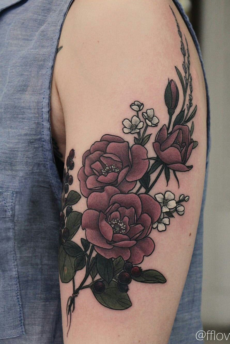 Wild Roses With Shadberry Apple Blossom And Lavender Tattoos