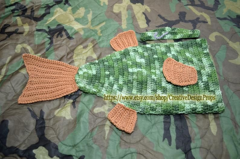 Crochet Trout Bass Fish Costume for Baby, Cocoon and Headband with fishing hook newborn outfit, Halloween, photo prop, Fisherman baby shower