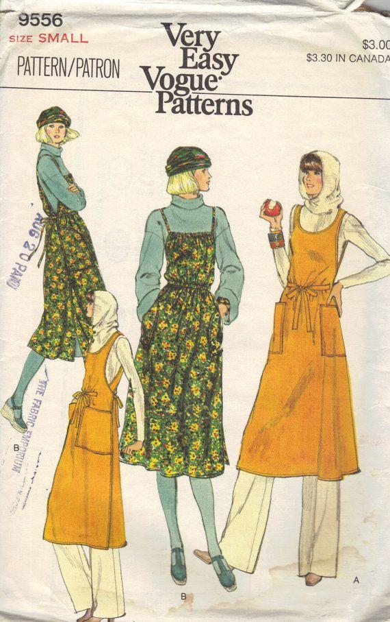 Retro 70s Vogue Sewing Pattern Apron Dress Wrap Front Jumper Scoop ...