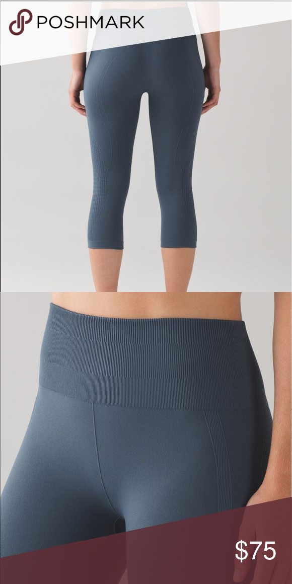ce480113f6 Lululemon Flow and Go Crop Astro blue *6* Like new worn once, perfect  condition. lululemon athletica Pants Leggings