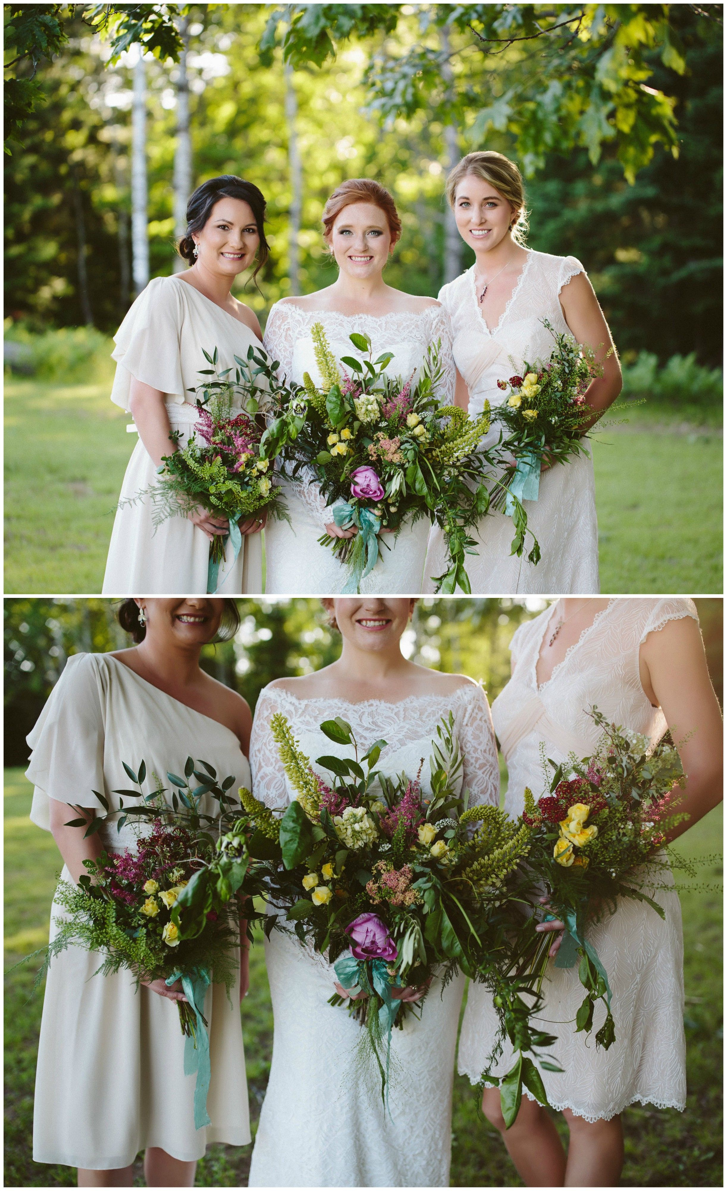 The smarter way to wed white bridesmaid dresses and wedding short off white bridesmaid dresses natural wedding bouquets of wildflowers luscious leafy greens ombrellifo Choice Image