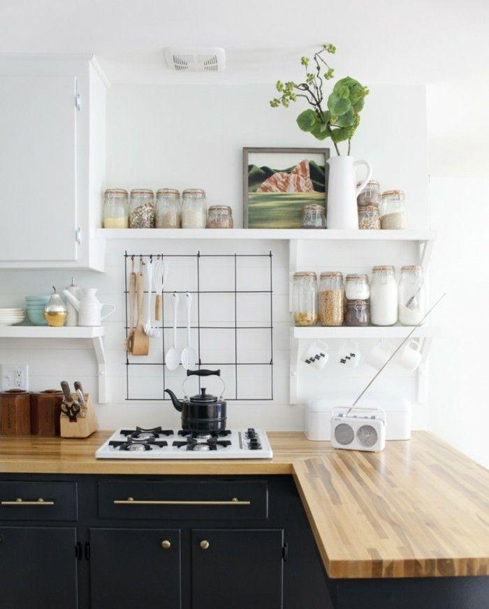 encimeras de madera en la cocina pequea moderna