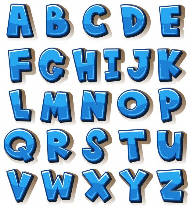 English Alphabets In Blue Blocks in 2020 | Lettering ...