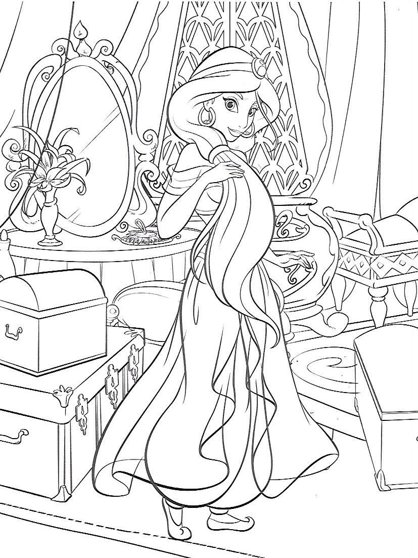 Princess Jasmine coloring page 그림, 색칠 공부 자료, 애니메이션