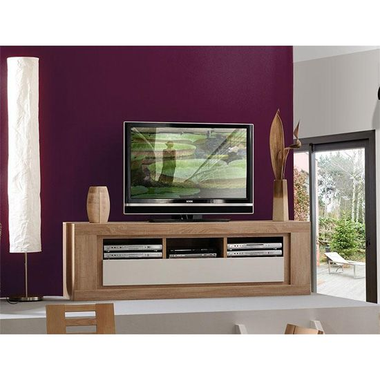 Season Wooden TV Stand With High Gloss Cream Flap ...