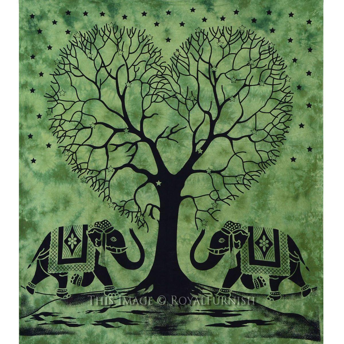 Green Queen Indian Elephants With Love Tree Of Life Tie
