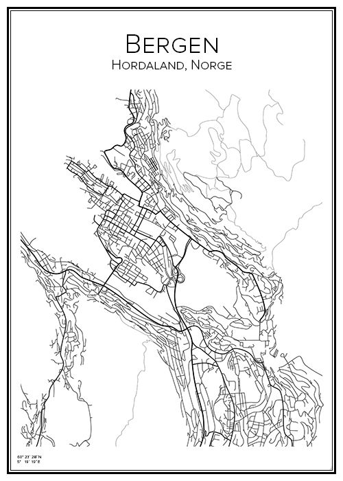 Bergen. Norge. Karta. City print. Print. Affisch. Tavla. Tryck.