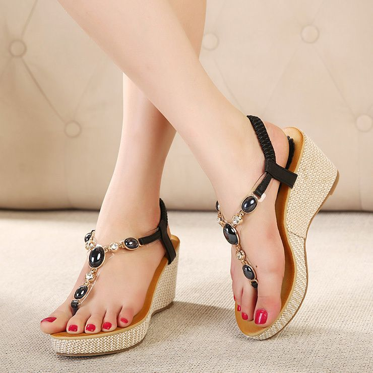 Women's Platform Sandals - Ladies Peep-Toe Summer Sandals Ankle Wrap Shoes Flip Flops