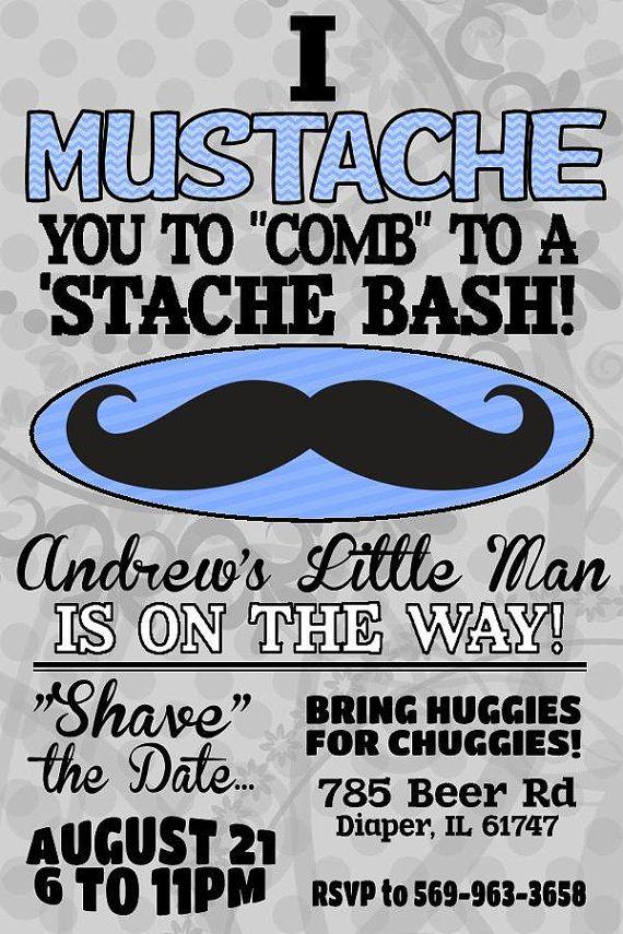 Mustache Bash Diaper Party - Stash Bash Party Invitation - Diaper ...