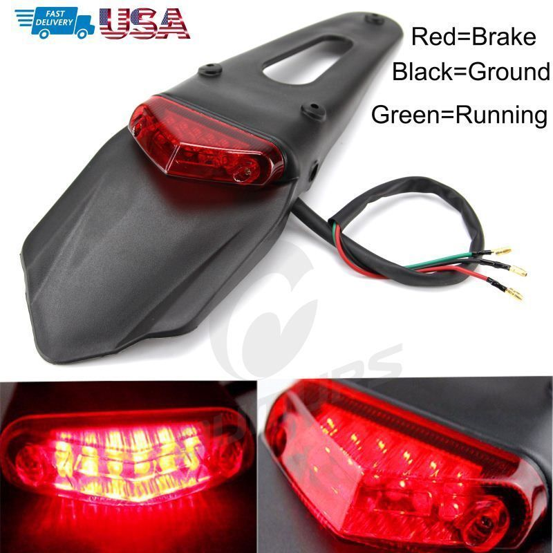 1x Dirt Bike Motorcycle Light Led Rear Fender Brake Tail Light For Honda Cr250r Motorcycle Lights Bike Fender Led Tail Lights