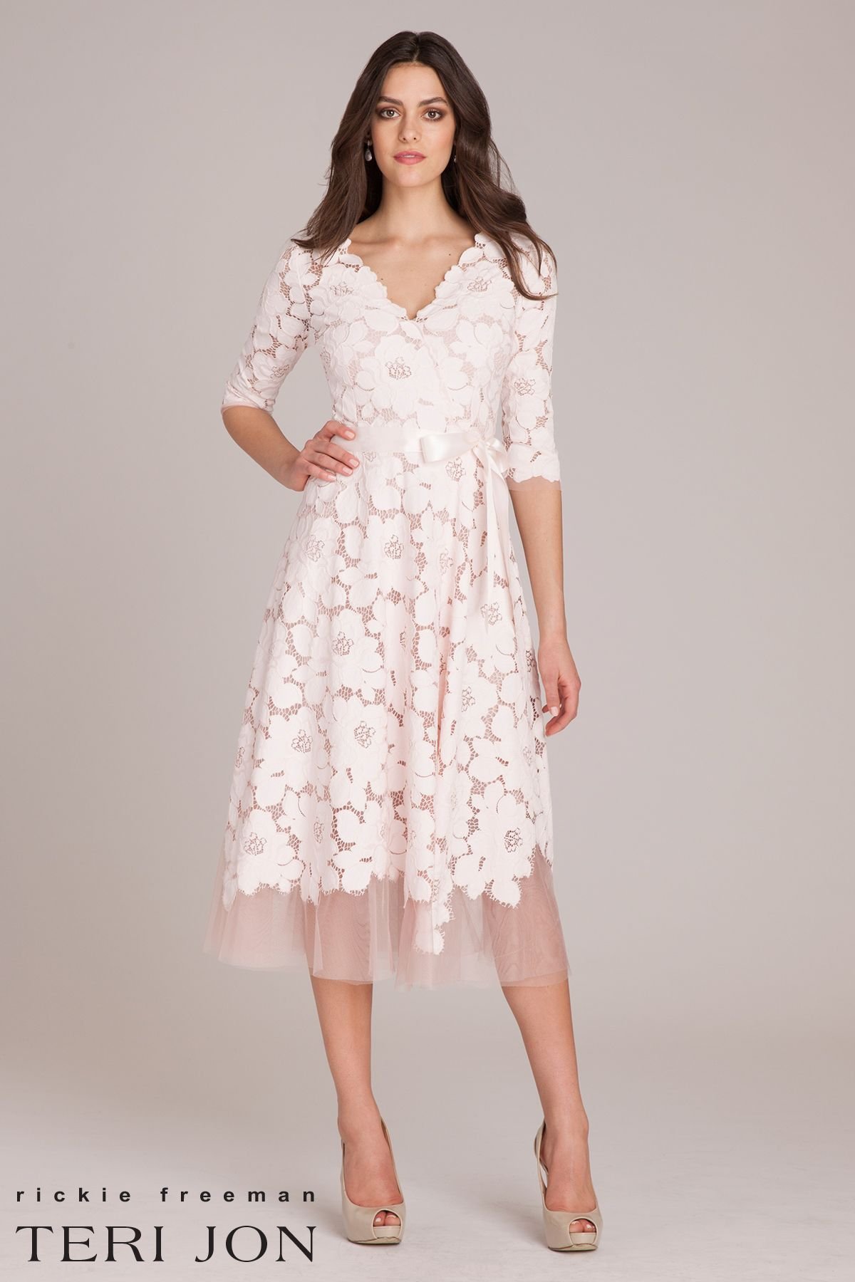 4a11e4d40d0b2 ¾ Sleeve Embellished Lace Fit and Flare Dress. As the Mother of the Bride  or Groom, you'll look light and elegant in blush lace and tulle on your  child's ...