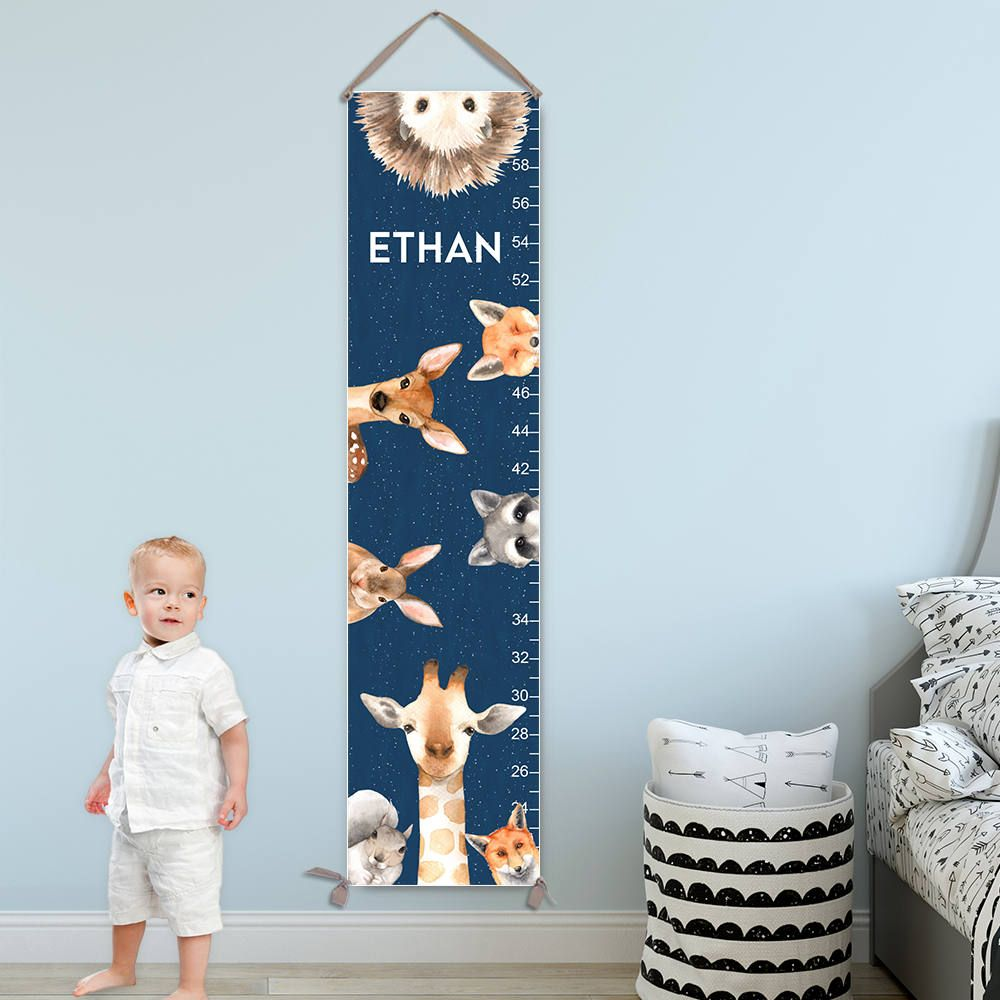 Growth chart for boys personalized canvas growth chart with growth chart for boys personalized canvas growth chart with woodland animals against night sky nvjuhfo Gallery