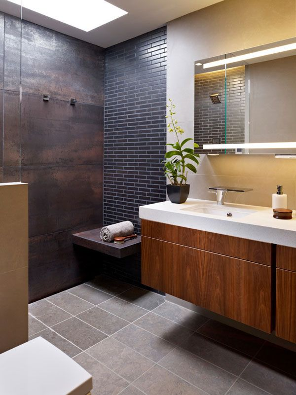 Copper Tiles Add An Understated Rustic Warmth To A Bathroom