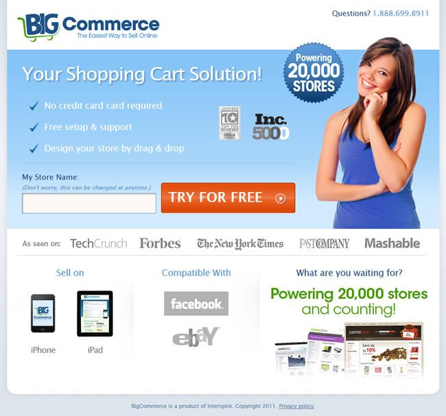 BigCommerce.com Landing Page (Click through for 74 more examples ...