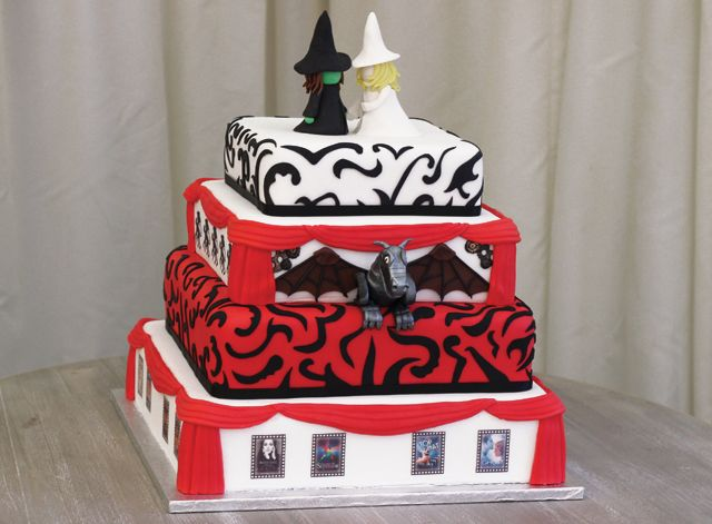 4 Tiers Of Cakes Decorated With Wicked And Theatre Theme