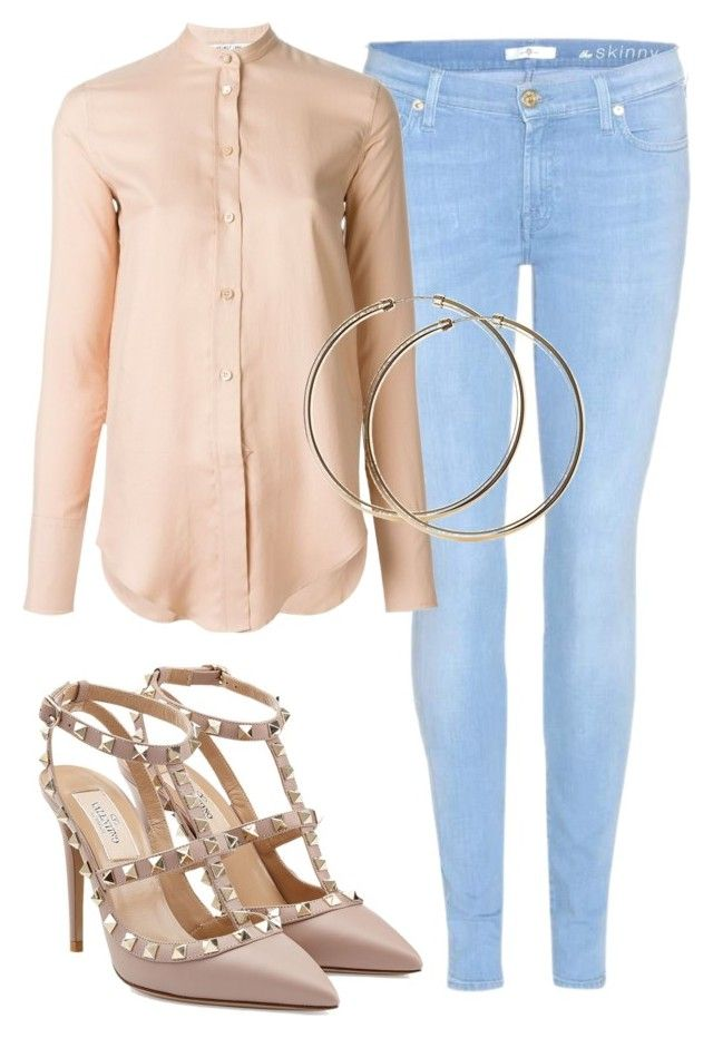 """Sem título #6734"" by ana-sheeran-styles ❤ liked on Polyvore featuring 7 For All Mankind, Helmut Lang, Valentino, women's clothing, women, female, woman, misses and juniors"