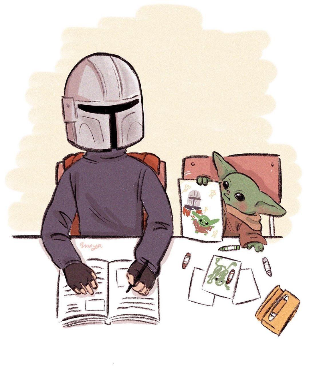 The Mandalorian And Bb Yoda Fan Art Star Wars Humor Star Wars Memes Star Wars Artwork