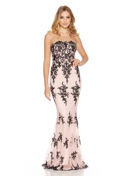 6639faf8da Nude Sequin Scallop Fishtail Maxi Dress