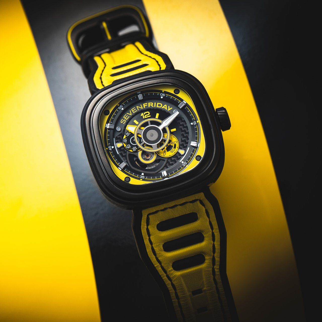 P3B/03 Racing Team Yellow Stainless steel case, Racing