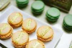 gold glittered macarons