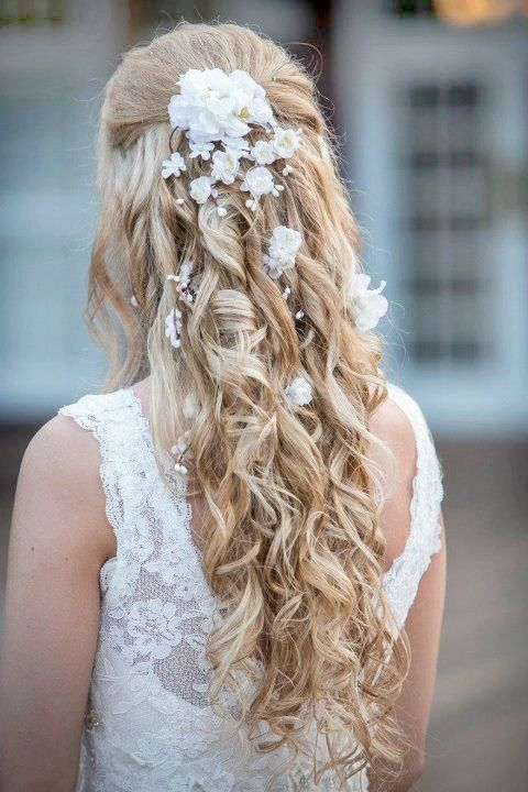 Bridal Hair Down With Flowers : This is beautiful white flower hair clip wedding