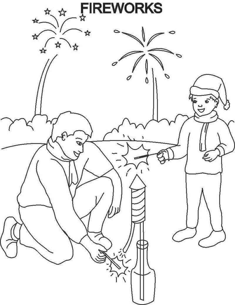 Fireworks Coloring Pages For Kids Karnaval