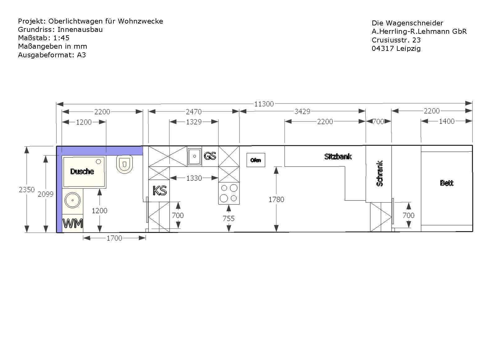 Zwei Zimmer Kuche Bad Grundriss Bauwagen Ausbauen Leben Auf Kleinem Raum