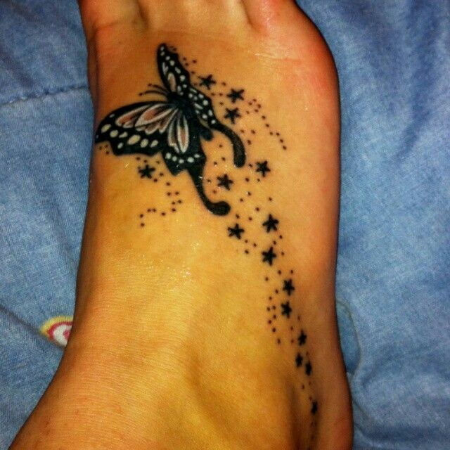 Butterfly With Stars Tattoo Shooting Star Tattoo Foot Tattoos Star Tattoos