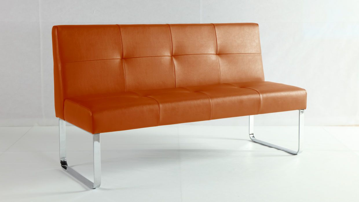 Genoa Spicy Orange Dining Bench With Backrest From Danetti
