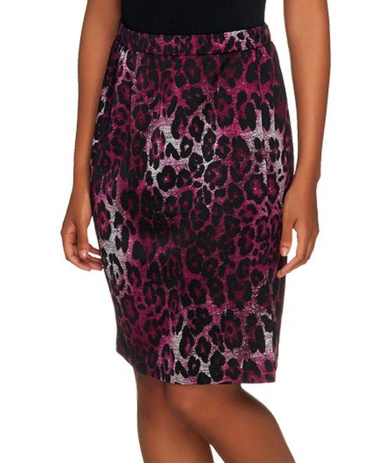 Deep Berry Leopard Pencil Skirt - Plus Too