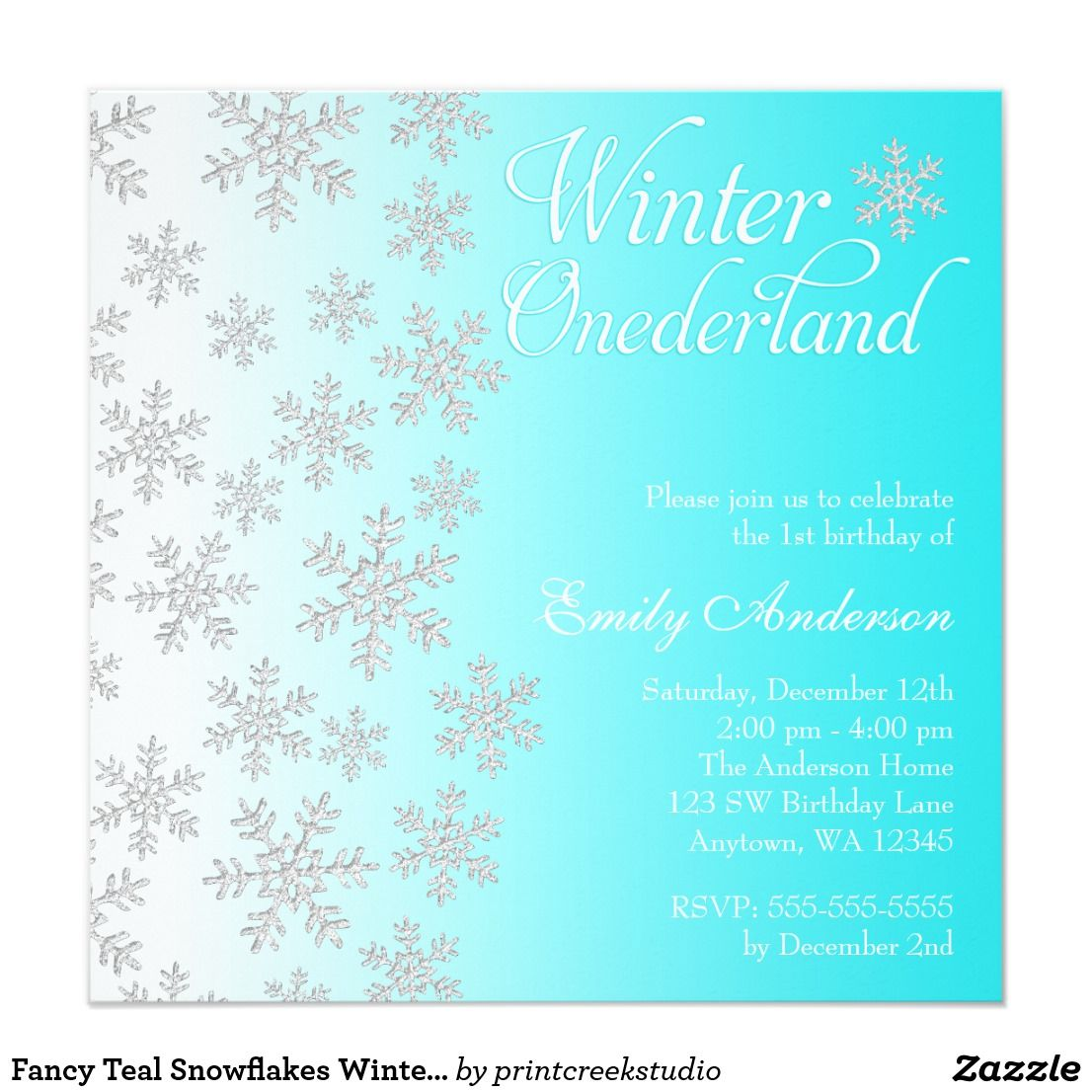 Fancy Teal Snowflakes Winter Onederland Birthday Card | Winter ...