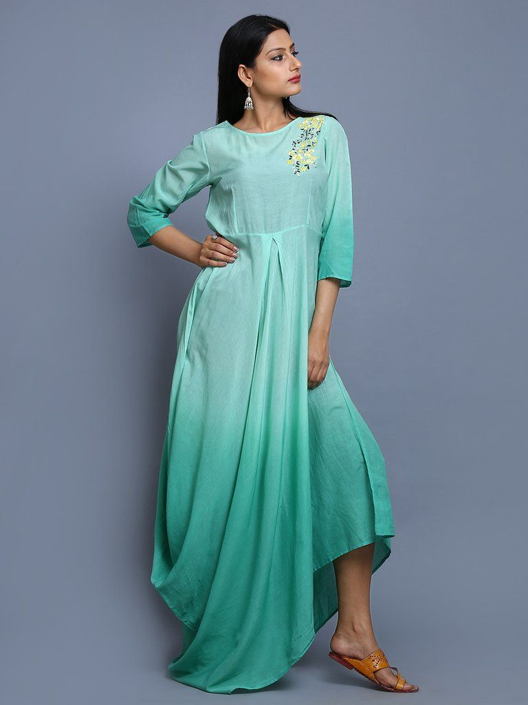 c48228dd7a Turquoise Ombre Cotton Embroidered Dress
