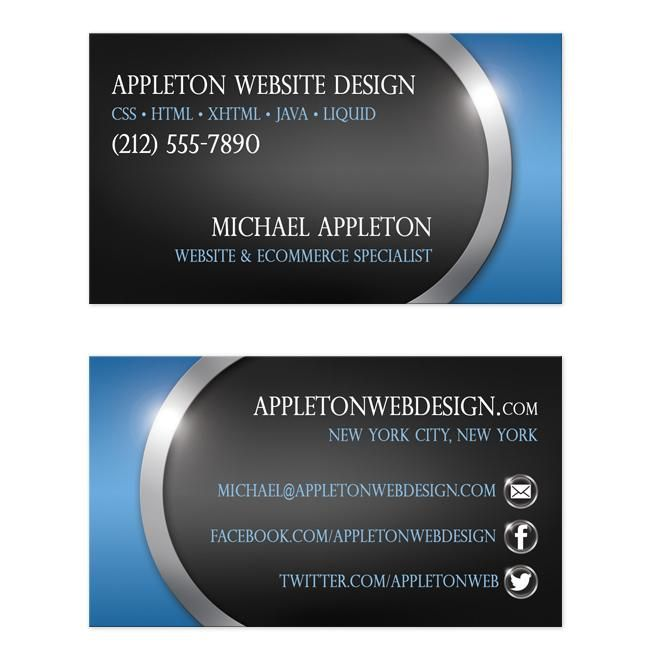 Sleek blue with social contact buttons business cards business business cards designed for the technology expert they feature a teal black and silver illustrated color scheme with your business card details over the reheart Choice Image