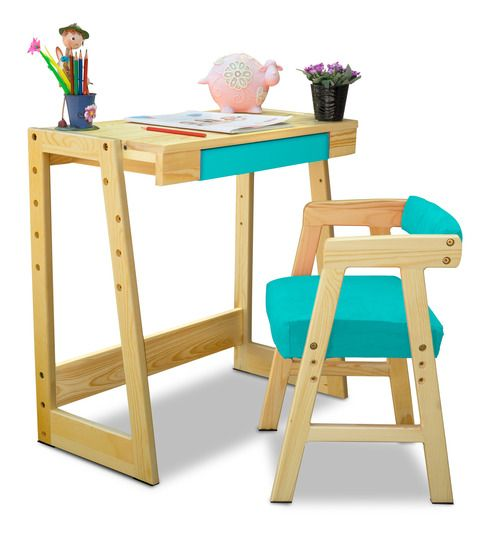 Buy Pineworks Desk Chair Set In Blue Colour By Alex Daisy Online Shop From Wide Range Desk And Chair Set Upholstery Fabric For Chairs Study Table And Chair