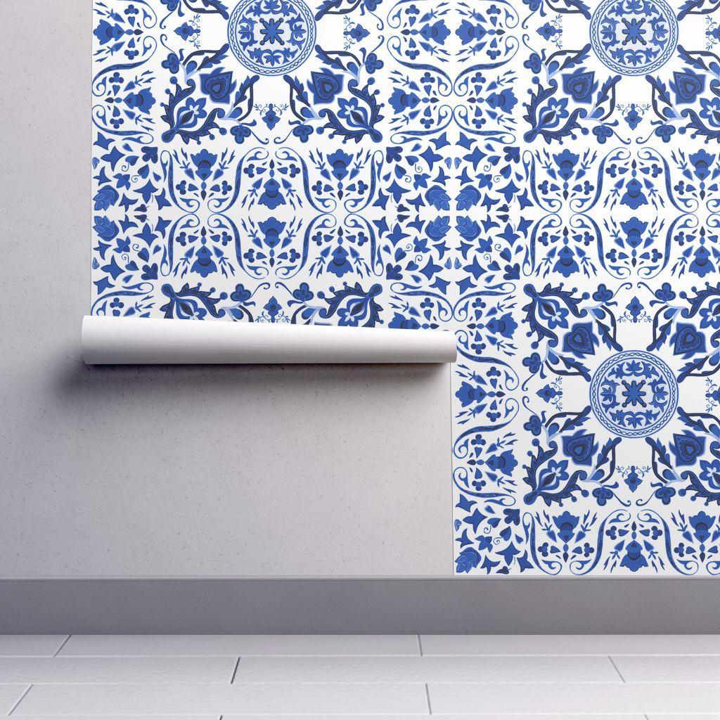 Colorful Fabrics Digitally Printed By Spoonflower Sweet Ramona Folk Art Tile Provence Blue And White Tile Wallpaper Tile Art Wallpaper