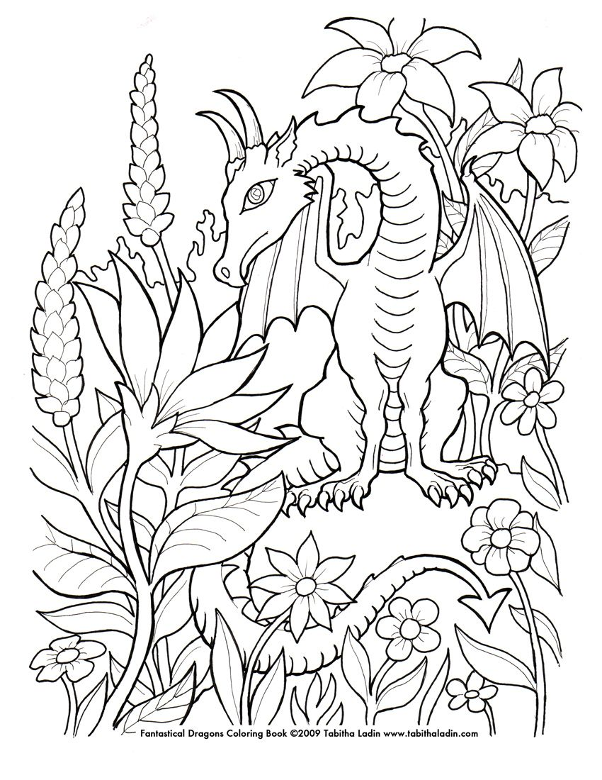 hand drawn with ink on paper feel free to color but please give me credit if you post it flower dragon coloring page - Free Coloring Pages Dragon