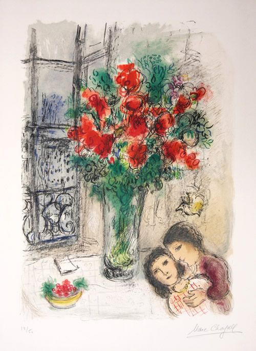 Marc Chagall - Les Fleurs Rouges (M. 705) - The Red Flowers - Beautiful signed lithograph http://www.denisbloch.com/object.php?id=242