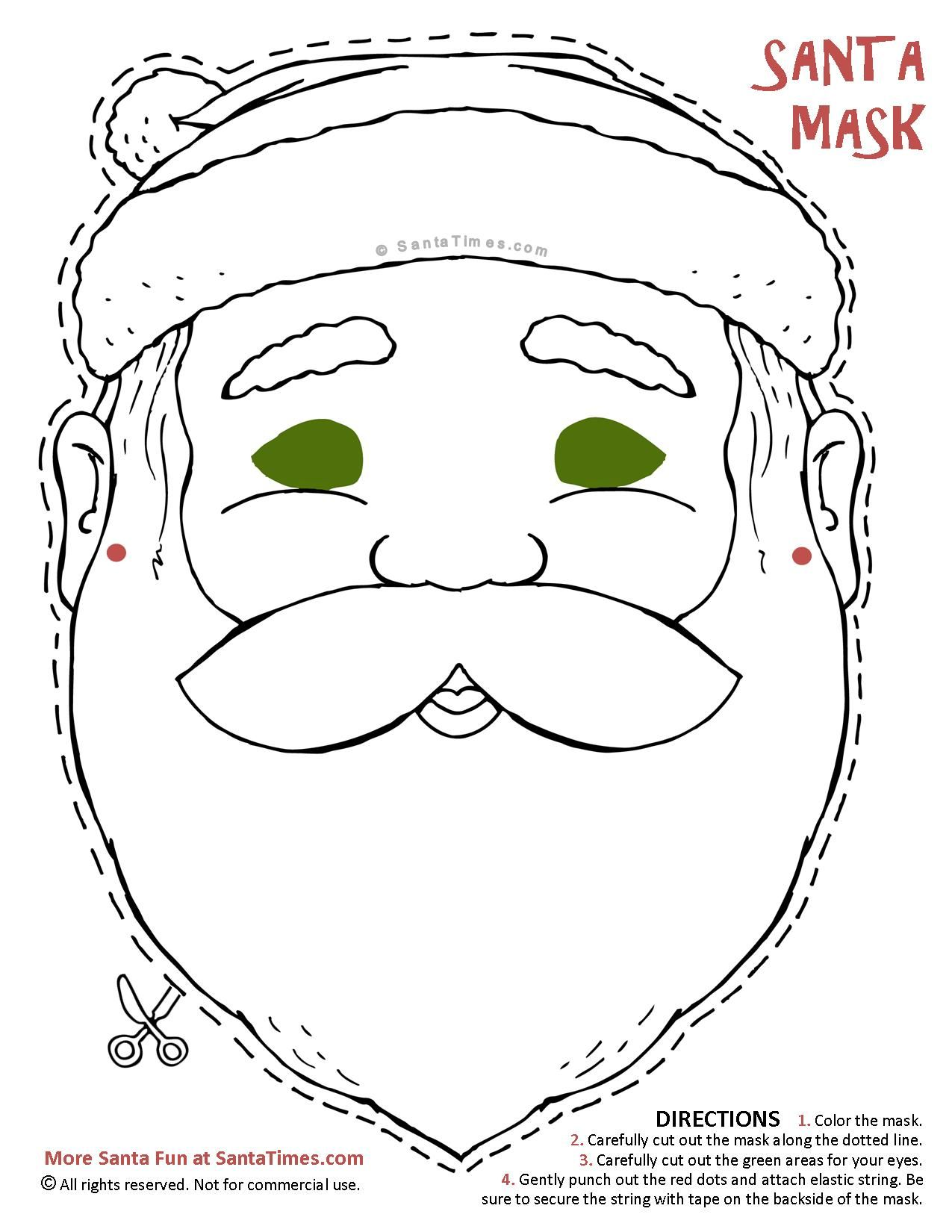 heres a jolly santa mask to cut out and color find more fun christmas printables at wwwsantatimescom santamaskcoloringpagechristmas