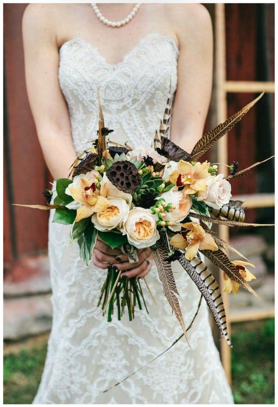 Rustic Chic Barn Wedding With Peach Pods Pheasant And Lace