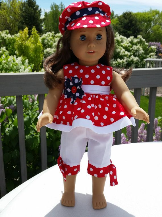"""Patriotic Red White /& Blue Dress /& Hat fits 18/"""" American Girl Doll Clothes"""